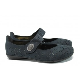 Равни дамски обувки - естествен набук - тъмносин - EO-10469