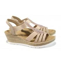 Дамски сандали - висококачествена еко-кожа - розови - EO-10470