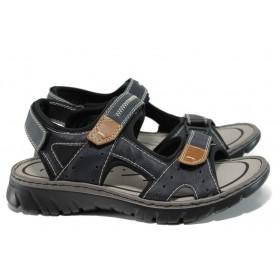 Мъжки сандали - висококачествена еко-кожа - тъмносин - EO-10471