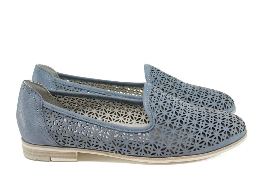 Равни дамски обувки - естествена кожа - тъмносин - EO-10477