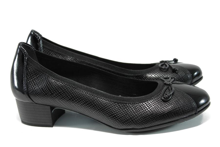 Дамски обувки на среден ток - естествена кожа-лак - черни - EO-10479