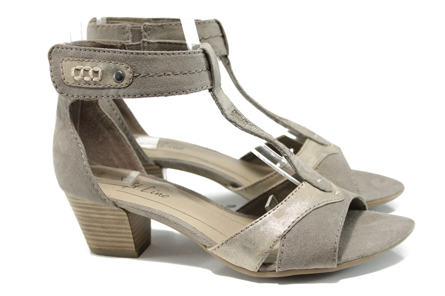 Дамски сандали - висококачествен еко-велур - бежови - EO-10480