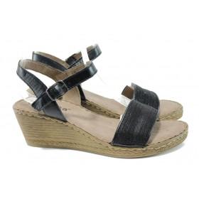 Дамски сандали - естествена кожа в съчетание с текстил - черни - EO-10481