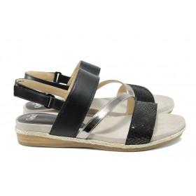 Дамски сандали - естествена кожа в съчетание с еко-кожа - черни - EO-10482