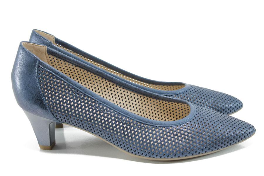 Дамски обувки на среден ток - естествена кожа - сини - EO-10483