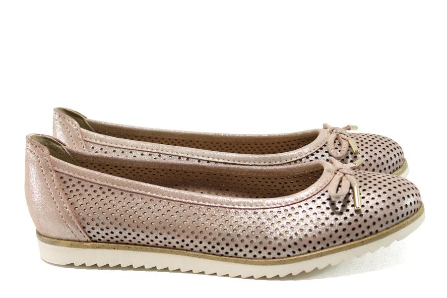 Равни дамски обувки - естествена кожа с перфорация - розови - EO-10485