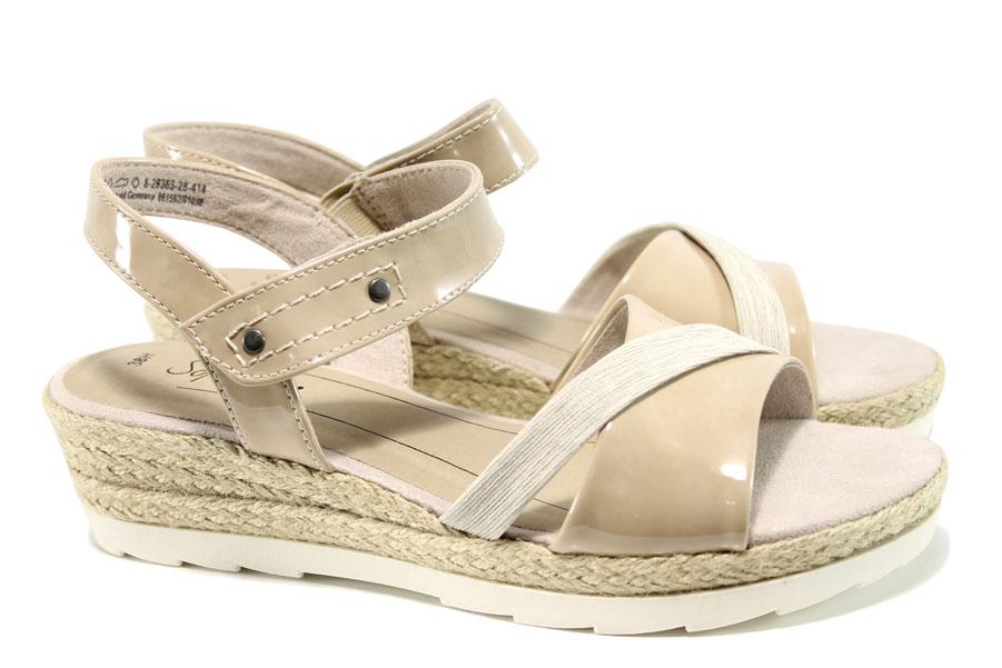 Дамски сандали - еко кожа-лак - бежови - EO-10488