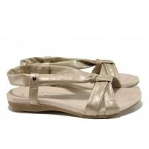 Дамски сандали - висококачествена еко-кожа - жълти - EO-10493