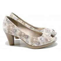 Дамски обувки на висок ток - висококачествен текстилен материал - бели - EO-10498