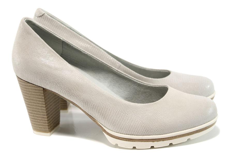 Дамски обувки на висок ток - естествена кожа - бежови - EO-10497