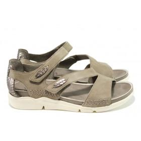 Дамски сандали - естествена кожа - бежови - EO-10495