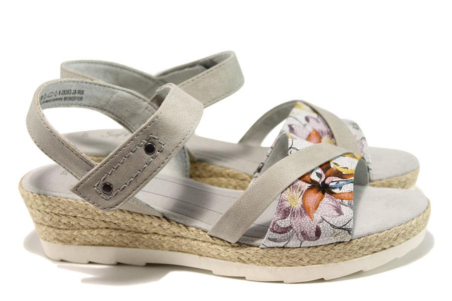 Дамски сандали - еко кожа-лак - сиви - EO-10489