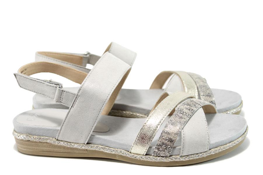 Дамски сандали - естествена кожа - сиви - EO-10507