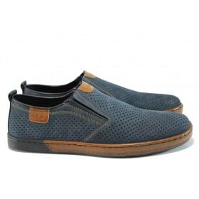 Мъжки обувки - естествена кожа - тъмносин - EO-10514