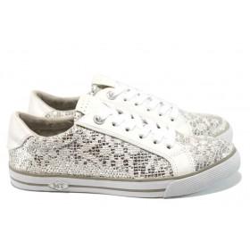 Равни дамски обувки - еко-кожа с текстил - сребро - EO-10504