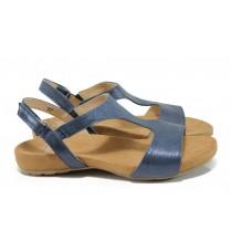 Дамски сандали - естествена кожа - сини - EO-10499
