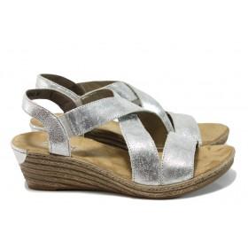 Дамски сандали - естествена кожа - сребро - EO-10512