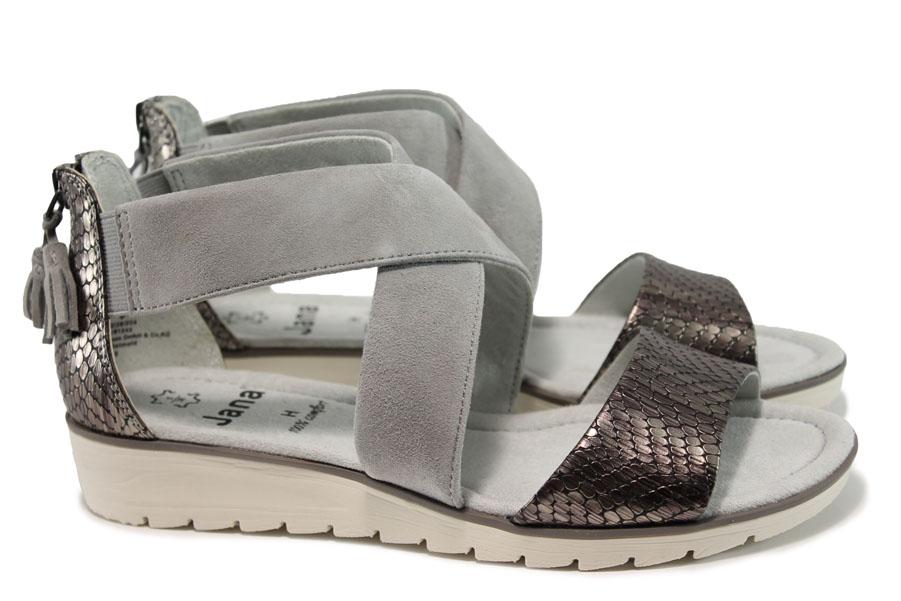 Дамски сандали - естествена кожа - сиви - EO-10511