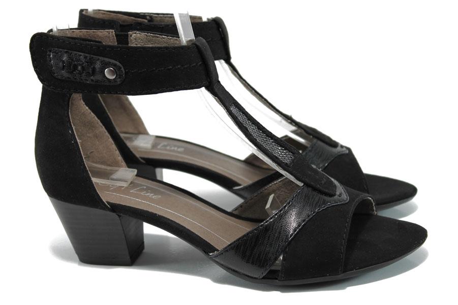 Дамски сандали - висококачествен еко-велур - черни - EO-10500