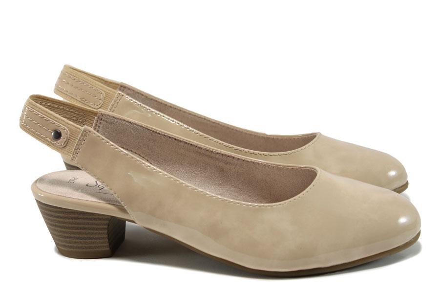 Дамски обувки на среден ток - еко кожа-лак - бежови - EO-10501