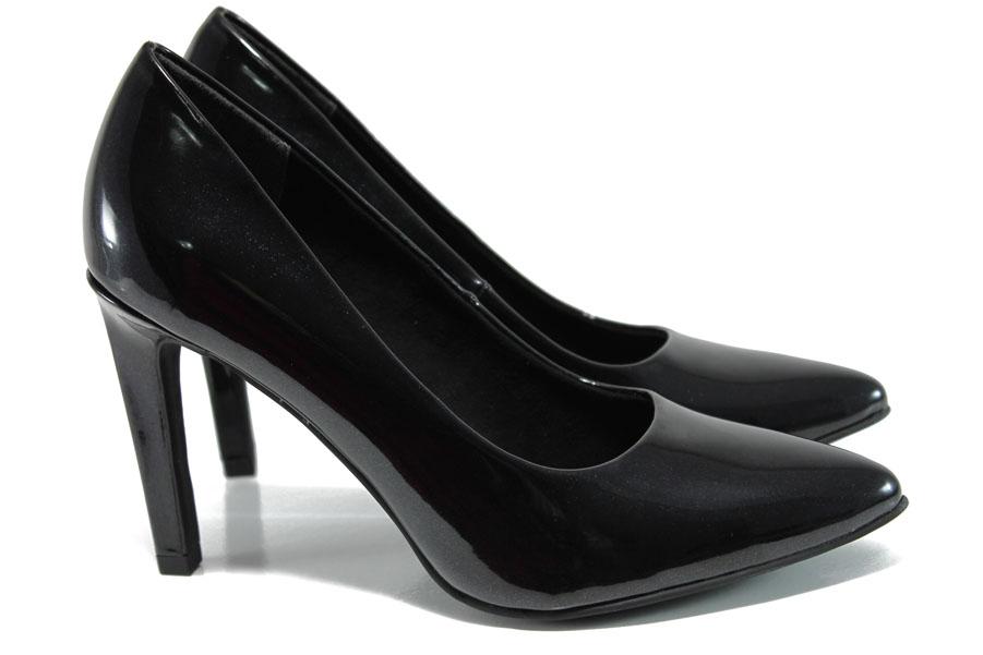 Дамски обувки на висок ток - висококачествена еко-кожа - черни - EO-10505