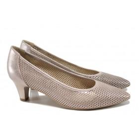 Дамски обувки на среден ток - естествена кожа - розови - EO-10502