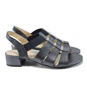 Дамски сандали - естествена кожа - черни - EO-10509