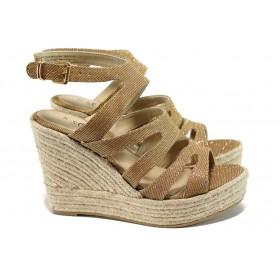 Дамски сандали - текстилен материал с брокат - жълти - EO-10513