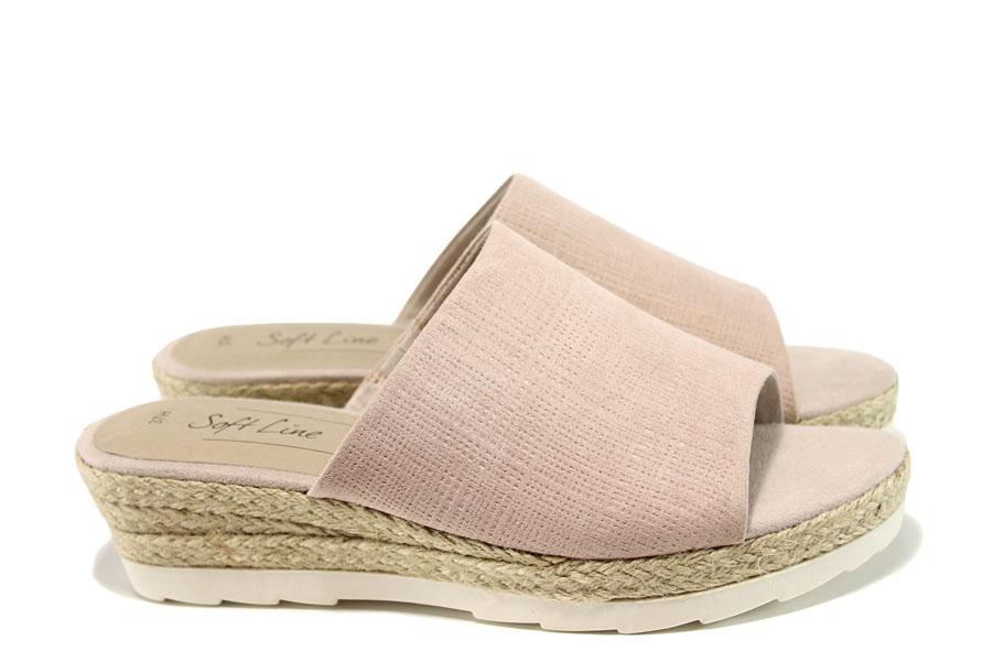 Дамски чехли - висококачествена еко-кожа - розови - EO-10503