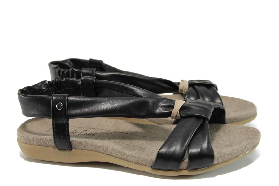 Дамски сандали - висококачествена еко-кожа - черни - EO-10494