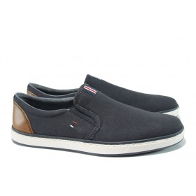 Спортни мъжки обувки - еко-кожа с текстил - тъмносин - EO-10516