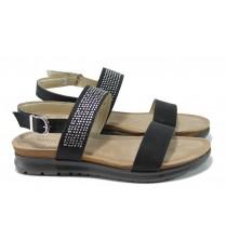 Дамски сандали - висококачествена еко-кожа - черни - EO-10520