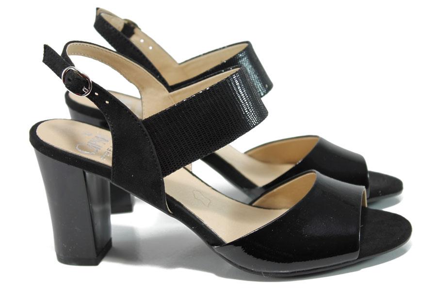 Дамски сандали - естествена кожа в съчетание с еко-кожа - черни - EO-10525