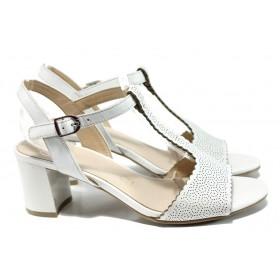 Дамски сандали - естествена кожа - бели - EO-10526