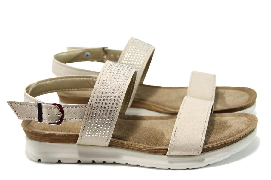 Дамски сандали - висококачествена еко-кожа - бежови - EO-10521