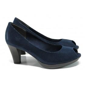Дамски обувки на висок ток - висококачествен текстилен материал - тъмносин - EO-10529