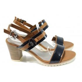 Дамски сандали - еко кожа-лак - тъмносин - EO-10557