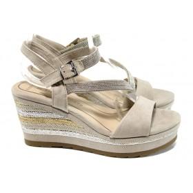 Дамски сандали - висококачествен текстилен материал - бежови - EO-10558