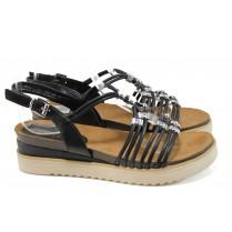 Дамски сандали - еко-кожа с текстил - черни - EO-10559