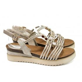 Дамски сандали - еко-кожа с текстил - бежови - EO-10560