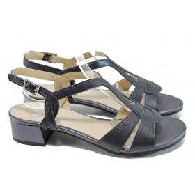 Дамски сандали - естествена кожа - тъмносин - EO-10562