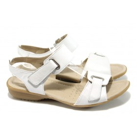 Дамски сандали - естествена кожа - бели - EO-10561