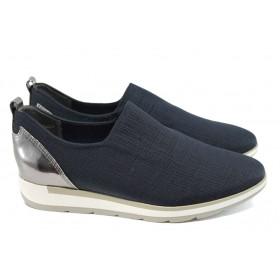 Равни дамски обувки - висококачествен текстилен материал - тъмносин - EO-10563