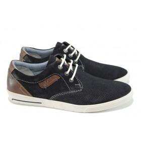 Мъжки обувки - естествен набук - тъмносин - EO-10564