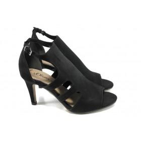 Дамски сандали - висококачествен еко-велур - черни - EO-10569
