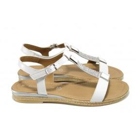 Дамски сандали - естествена кожа - бели - EO-10580
