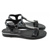Дамски сандали - естествена кожа - черни - EO-10581