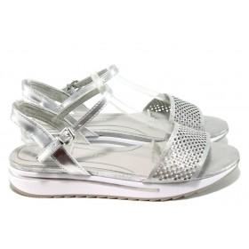 Дамски сандали - висококачествена еко-кожа - сребро - EO-10570