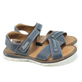 Мъжки сандали - висококачествена еко-кожа - сини - EO-10588
