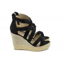 Дамски сандали - висококачествен еко-велур - черни - EO-10667